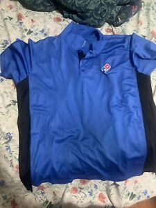 Dominos Pizza Employee Staff Polo Collar shirt Blue Delivery Size Xl Cl Plus