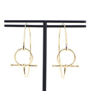 Auth HERMES Pierced Earrings Chaine d'Ancre Hoop Circle 750(18K) Rose(Pink) Gold