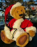 VINTAGE TEDDY BEAR RED SANTA HAT CHRISTMAS DOLL TAG ARTIST ANNETTE FUNICELLO 16""
