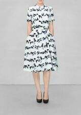 & OTHER STORIES silk oyster short sleeve dress 3D graphic print UK 13-14 £195