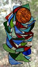 ' UNSTAINED LIGHT ' Handmade Abstract Stained Glass DREAMCATCHER / SUNCATCHER
