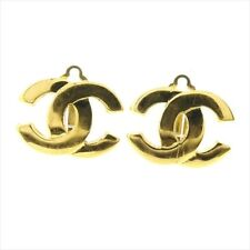 plating Woman Authentic Used D1975 Chanel Earrings Coco Gold Gold