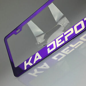 Custom Personalized Purple Chrome License Plate Frmae Tag Holder Laser Engraved