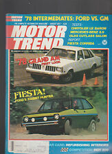 Motor Trend Magazine August 1977 Grand AM Fiesta Mercedes Benz Indy 500