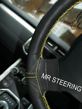 FITS PEUGEOT 406 95-04 REAL LEATHER STEERING WHEEL COVER YELLOW DOUBLE STITCHING