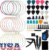65PCS Guitar Tool Changing Accessories Kit Guitar String Picks Winder Tuner Kit