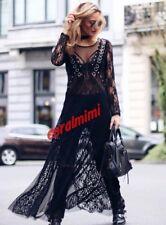 ZARA Nuevo Vestido Largo De Tul Con Encaje Negro Tachonado Talla S