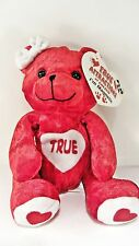 "TRUE  Love Bear Red Beanbag Plush - Magnetic Hands  - 5"" tall - ribbon on head"