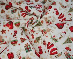 cotton 100% Christmas Santa stocking IVORY reindeer Rudolf gifts stars presents