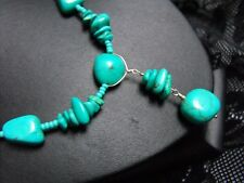 925 STERLING SILVER NECKLACE TURQUOISE gemstone chips & glass beads