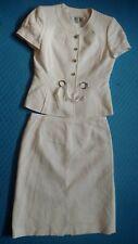TAHARI A. S. Levine Top / Short Sleeve Jacket Skirt Suit 2Pc Sz 6 White Textured