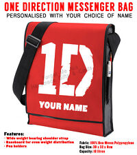 Personalised 1D One Direction Red/Black Vertical Messenger Bag Your name School