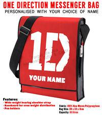 Personnalisé 1D One Direction Rouge / Noir Vertical Messenger Sac École de votre nom