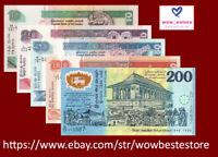 SRI LANKA BANKNOTE SET 5 PCS, 10 20 50 100 200 Rupees, P-105,114-117,UNC