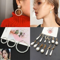Elegant White Pearls Crystal Hoop Earrings Women Oversize Circle Trendy Jewelry