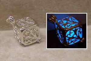 GLOW IN THE DARK Silver Cube Filigree Locket Charm Necklace Cute Gift