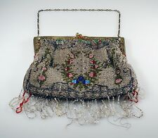 Antique Micro Seed Bead Beaded Purse Bag Jeweled Frame