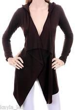 Brown Long Sleeve Shrug/Cover Drape Scarf Hood Tunic Cardigan S