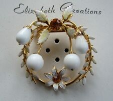 Vintage Brooch - 1940's Wreath Bouquet Brooch with stone/various colors