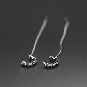 925 Sterling Silver Zircon Wave Thread Line Earrings