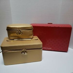ESTEE LAUDER Gold Faux Leather Cosmetics Makeup Jewelry Travel Case Bag 2-Piece