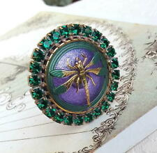 Vintage Style Czech ALL Glass Rhinestone HAT Pin #T079 - SIGNED