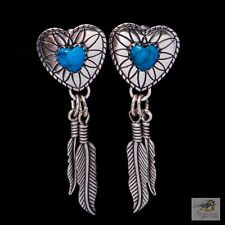 Catcher Feather Turquoise Earrings (J136) Fabulous Mexico Sterling 925 Dream