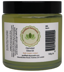 100g Organic Ozonated cold pressed Olive Oil in a glass jar