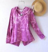 New~$69~Berry Pink White Shirt Pullover Hoodie Sweatshirt Boho Top~Size Large L