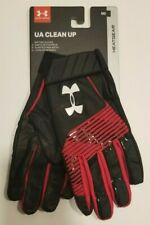 Ua Clean Up Baseball Batters Gloves Men's Medium (M) Black / Red New