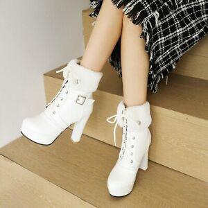 Women's High Heels Platform Lace-Up Ankle Boots Fur Short Boots Shoes Oversize