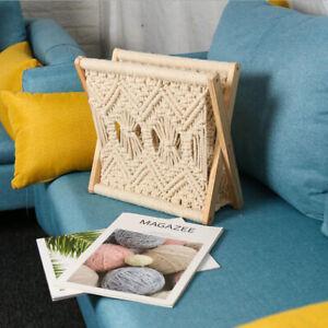 Retro Magazine Rack Bohemian Macrame Newspaper Books Organiser Home Decorative