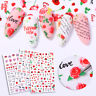 Rose Flowers Butterfly 3D Nail Stickers Red Tips Decals Nail Art Decorations