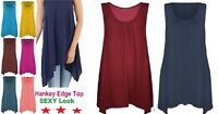 Womens Top Summer Gathered Ladies Plus Size 18 20 22 24 26 Vest Hem Flared-Hnky
