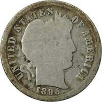 1895 S Barber Dime G Good 90% Silver 10c US Type Coin Collectible