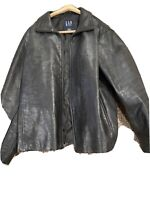 GAP Soft Lambskin LEATHER JACKET Mens Size L Black insulated zippered