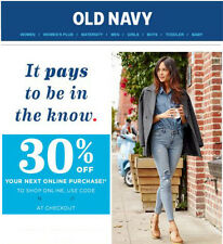 Old Navy 30% off Coup0n/Code. Valid on sale and clearance items. Exp 08/31/2017