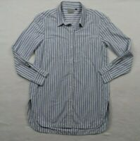 Athleta Weekender Button Down Shirt Size M Women's Blue White Striped Tunic Top