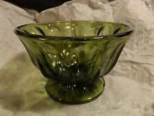 Vintage Green Depression Glass Footed Bowl/Candy Dish