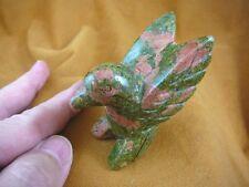Y-BIR-HU-713) little Green Orange Hummingbird gemstone hummingbirds humming bird