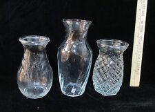 3 Clear Glass Bud Vases Floral Flowers Diamond Pineapple Swirl Swirling