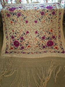Vintage cream floral silk hand embroidered piano scarf shawl 64x74