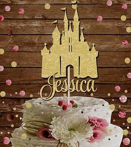 PRINCESS CASTLE NAME GLITTER CAKE TOPPER FAIRYTALE BIRTHDAY PARTY
