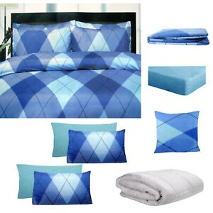 8 Pce Bed in a Bag Bed Pack Set Argyles Blue by Big Sleep - ALL SIZES