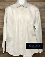 CANALI Men's White Striped Long Sleeve Button Front Dress Shirt Italy 41 - 16