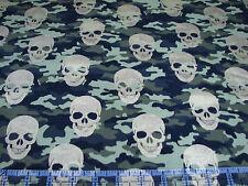 3 Yards Quilt Cotton Fabric - Timeless Treasures Metallic Gold Skulls Camouflage