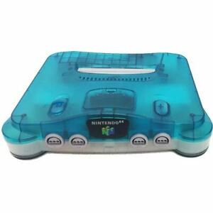 Authentic Nintendo 64 N64 (Clear Blue/Clear) w/Controller, Cords *Cosmetic Flaw*