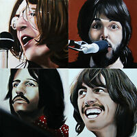 4 ORIGINAL PAINTINGS ACRYLIC ON CANVAS PORTRAITS OF THE BEATLES, LET IT BE COVER