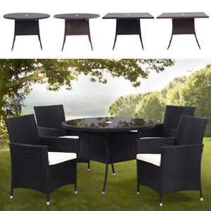 Rattan Glass Table with Parasol Hole Outdoor Garden Patio Dining Tables UK