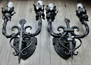 PAIR ANTIQUE HAND HAMMERED WROUGHT IRON SPANISH REVIVAL WALL SCONCES SUPERB
